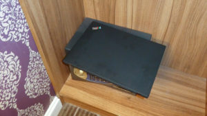 Laptop on top of too small safe